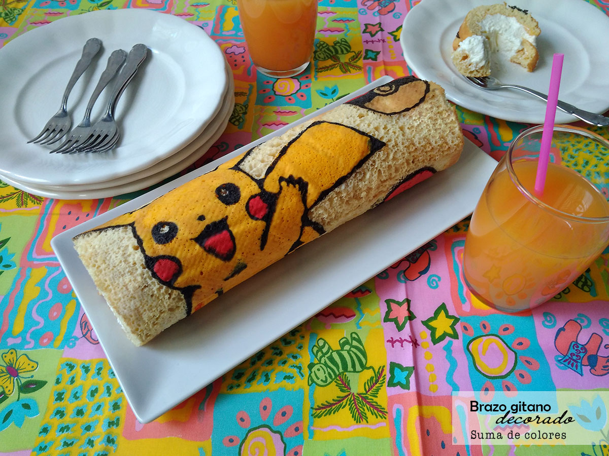 Suma de colores brazo de gitano decorado pikachu for Decoracion de brazo gitano