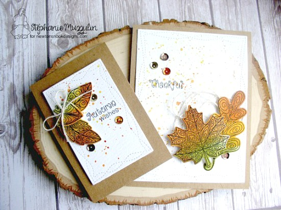 Fall Leaf cards by Stephanie Muzzulin | Beautiful Leaves Stamp Set & Die by Newton's Nook Designs #newtonsnook