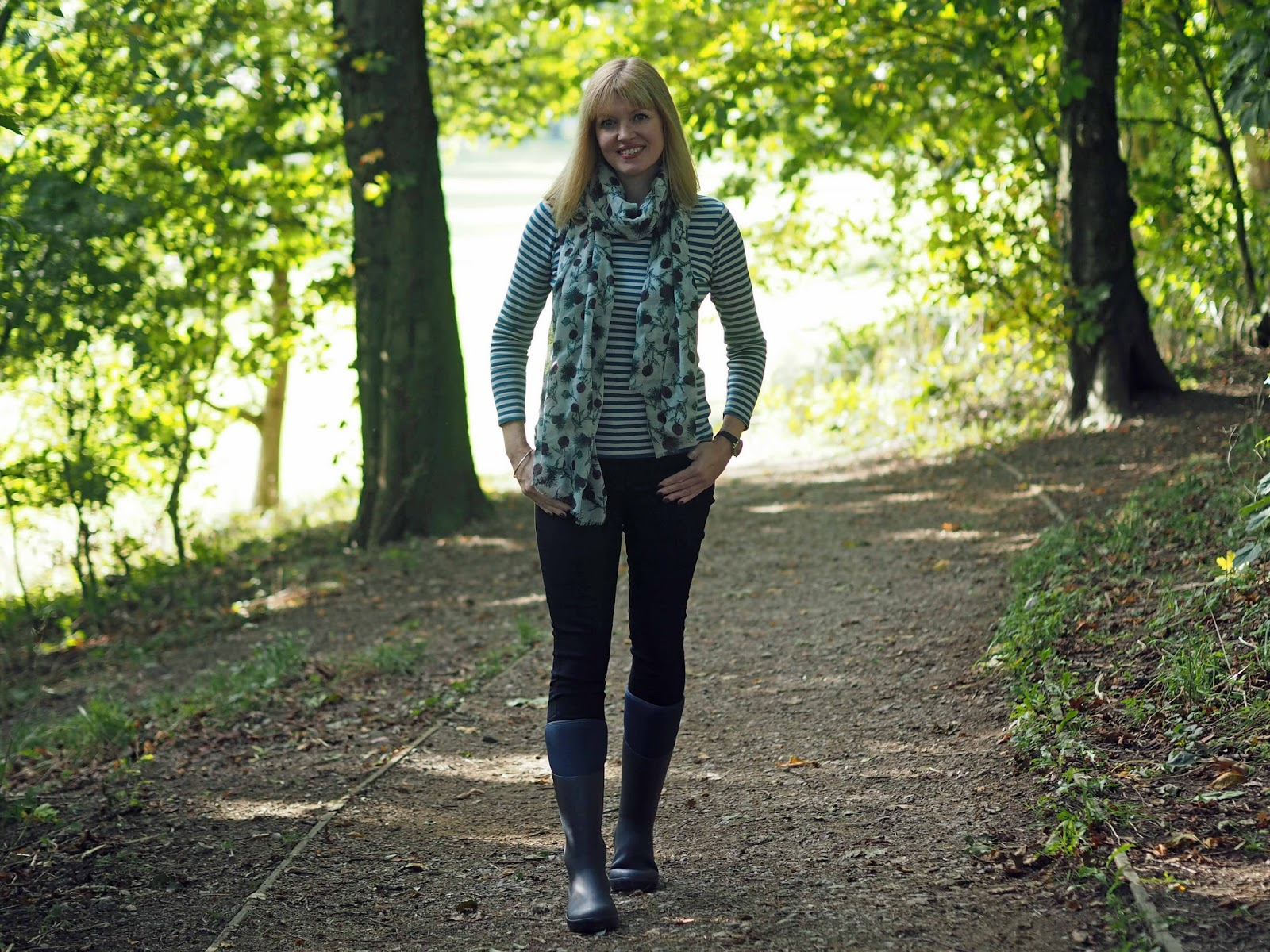 Tulchan striped breton top, floral thistle scarf, skinny jeans and muck boots
