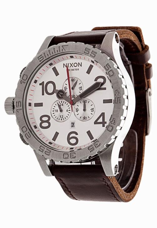 Relógio marrom Nixon Chrono Leather com couro importado