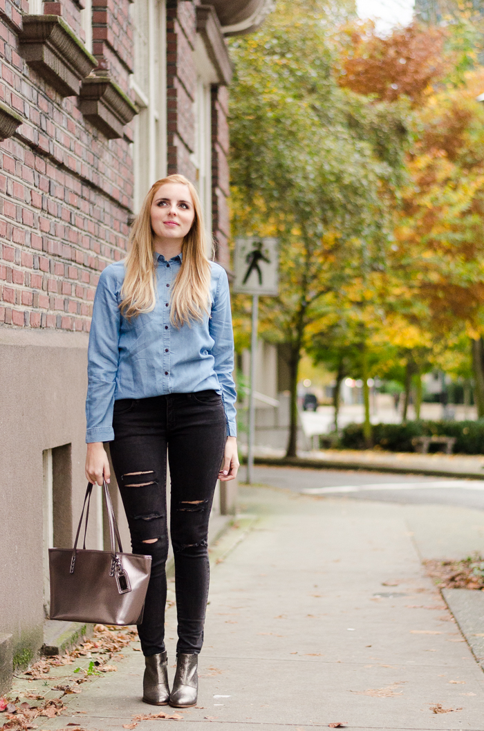 how to style a chambray shirt