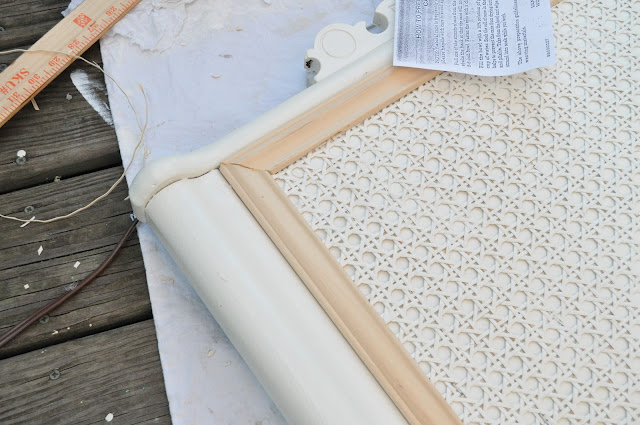 Trim and caning can comepletly transform a headboard from 80's ugly to amazing! DIY headboard idea