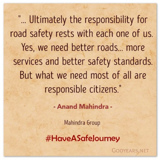 Anand Mahindra's message for the unique anthology on road safety, Have A Safe Journey