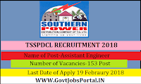 Telangana Southern Power Distribution Limited Recruitment 2018- 153 Assistant Engineer