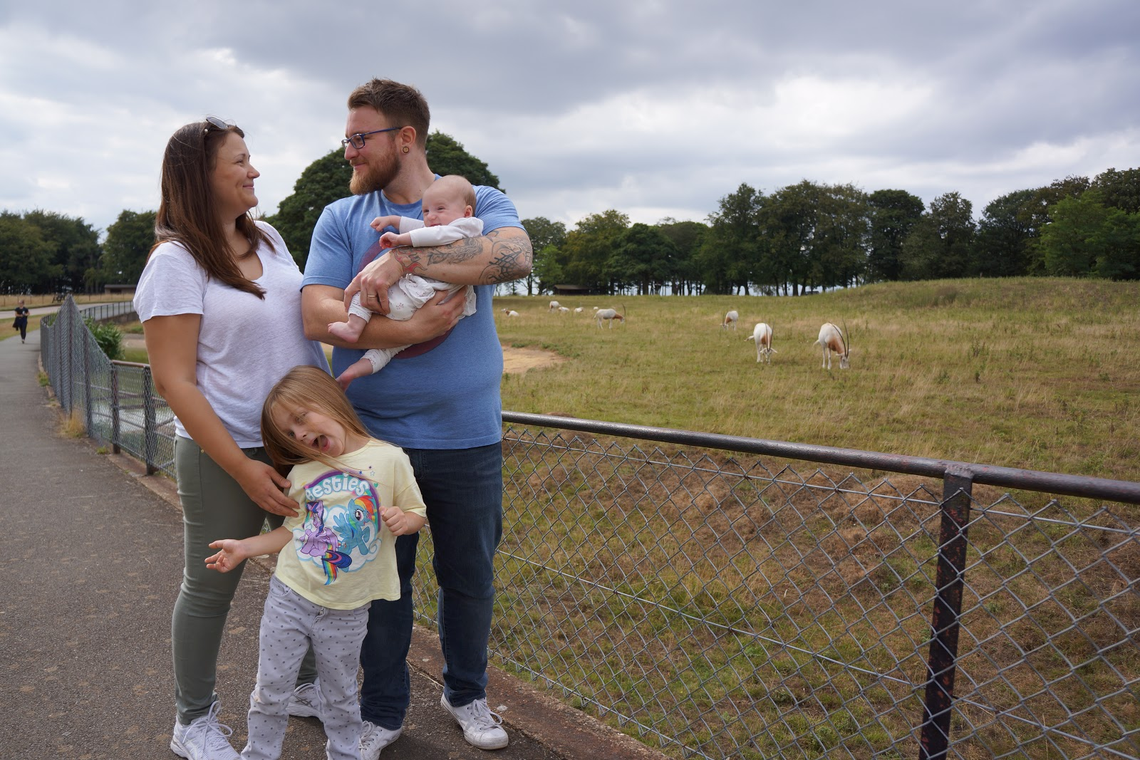 family picture at whipsnade zoo with antilopes
