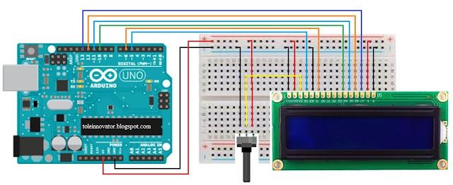 Rangkaian Menampilkan text di LCD 16x2 Arduino