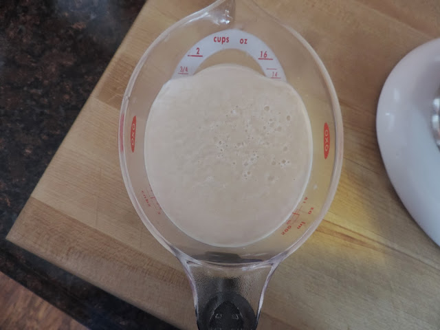 A measuring cup, sitting on the counter, with the yeast fully bloomed inside.