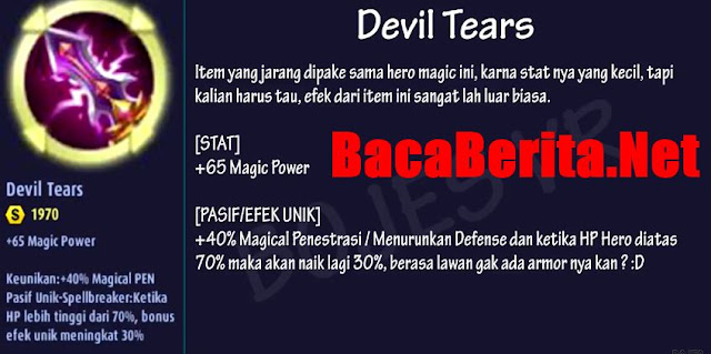 Fungsi item mage Devil Tears mobile legend