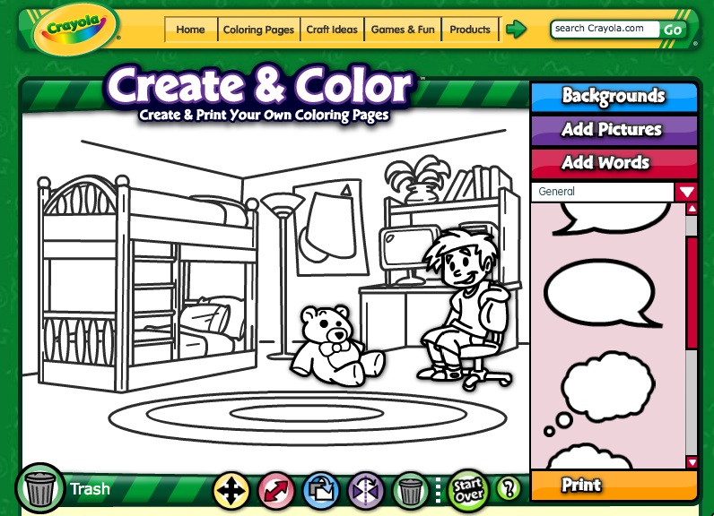 crayola make your own coloring page - speechtechie technology apps and lessons for slps and