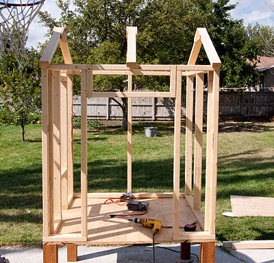 side view of chicken coop frame
