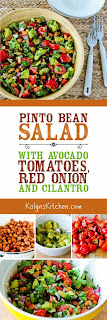 Pinto Bean Salad with Avocado, Tomatoes, Red Onion, and Cilantro found on KalynsKitchen.com