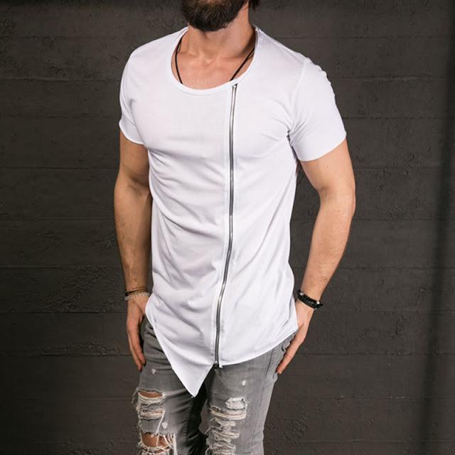 camiseta masculina longline zip