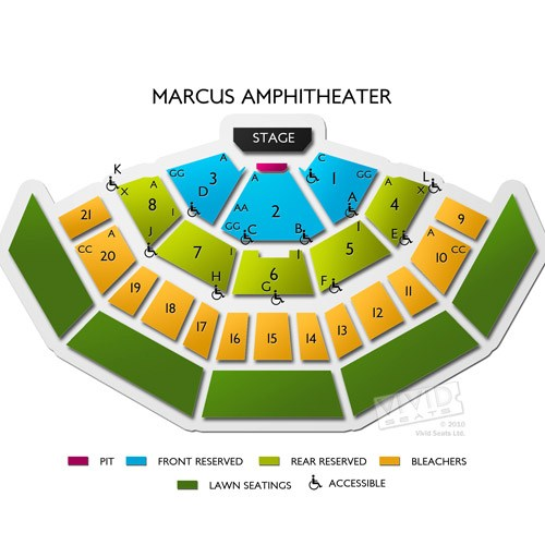Marcus Amphitheater Seating Chart Row & Seat Numbers TickPick