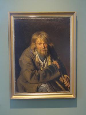 Maleri av en gammel mann med langt hår og stokk.