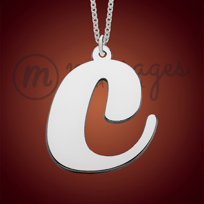 messages in metal silver initial peronalised necklace