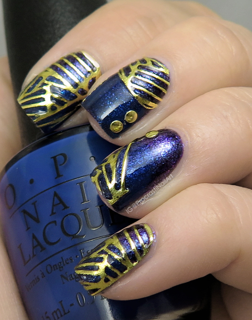 Gold Accented Nails with Julep Golden Angle Nail Wraps