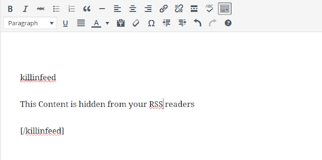 hide your content in WordPress RSS feeds