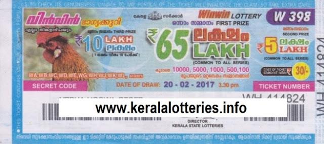 Kerala lottery result of Winwin-W-308