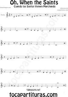 Partitura de Oh When the Saints para Violín La Marcha de los Santos Sheet Music for Violin Music Scores Music Scores Cuando los Santos Vienen Marchando