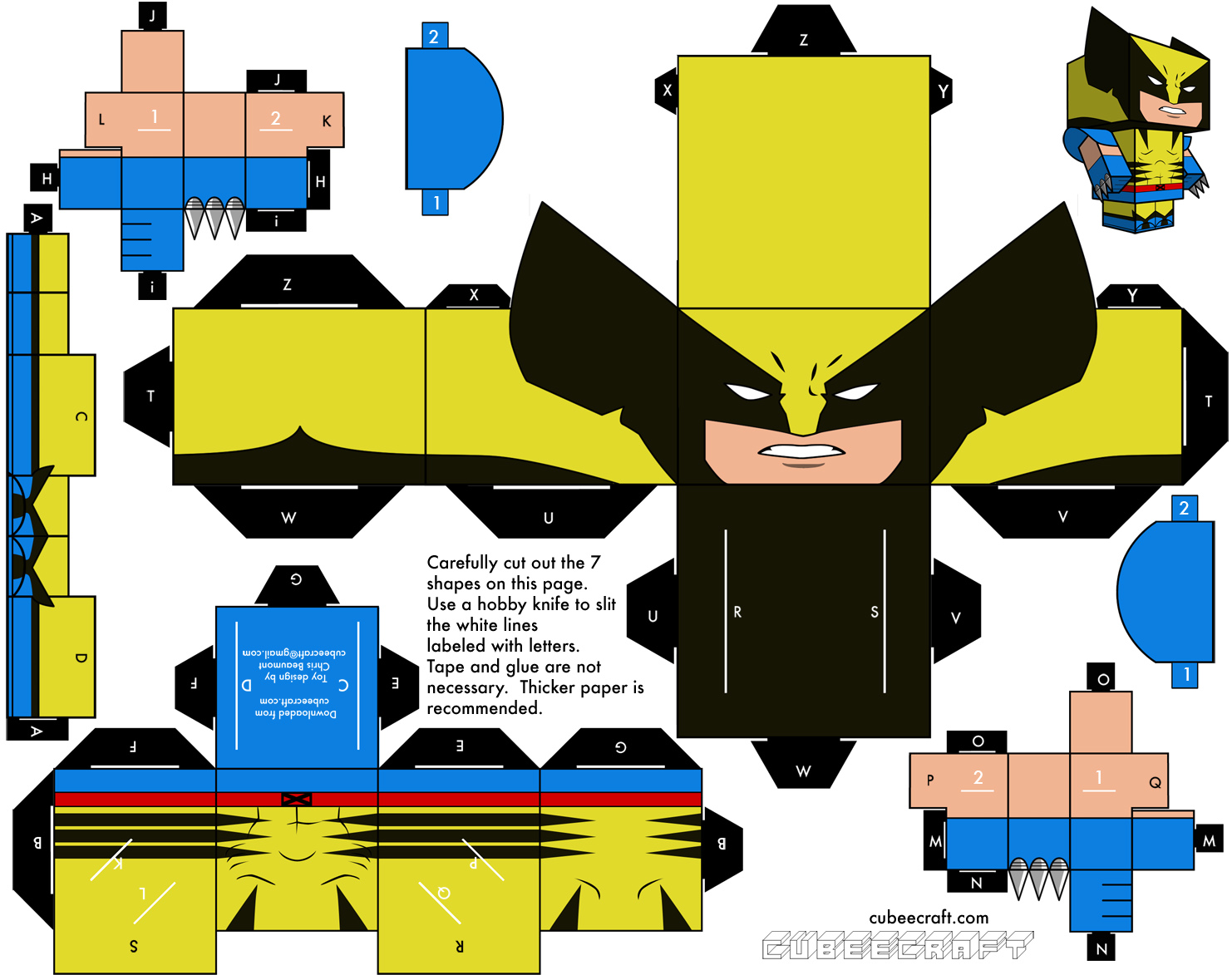 cut out character template - dini create cubeecraft x men