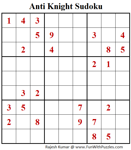 Anti Knight Sudoku Puzzle (Fun With Sudoku #265)