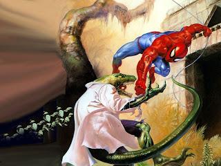El lagarto luchando contra Spider-man