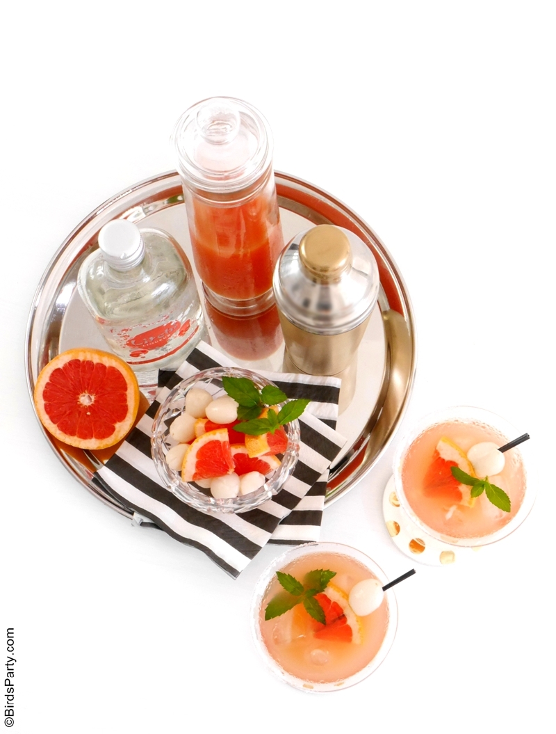 Lychee Syrup & Grapefruit Cocktails