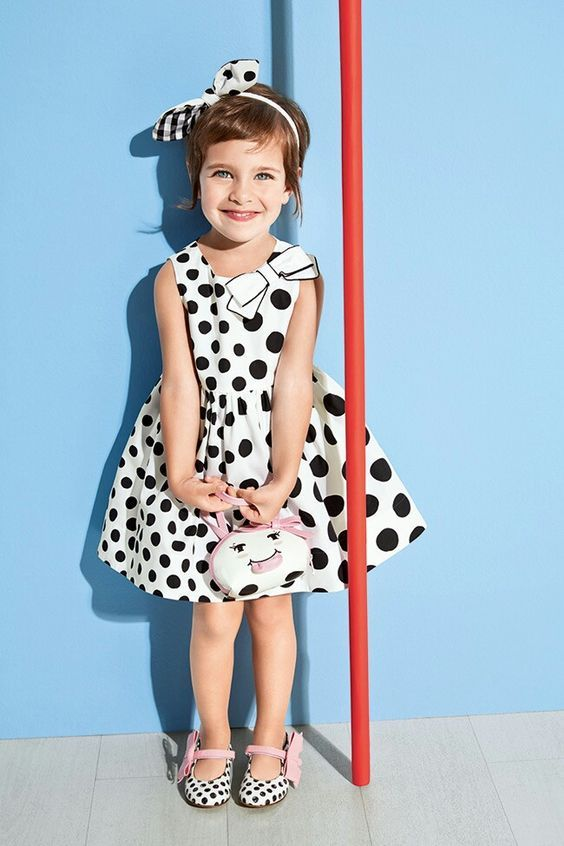 White and Black Polkadots Dress Image 16