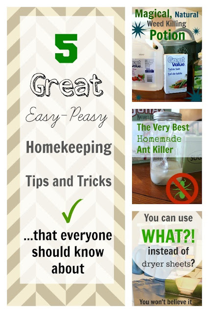 5 homemaking tips with a collage of pictures explaining the tips