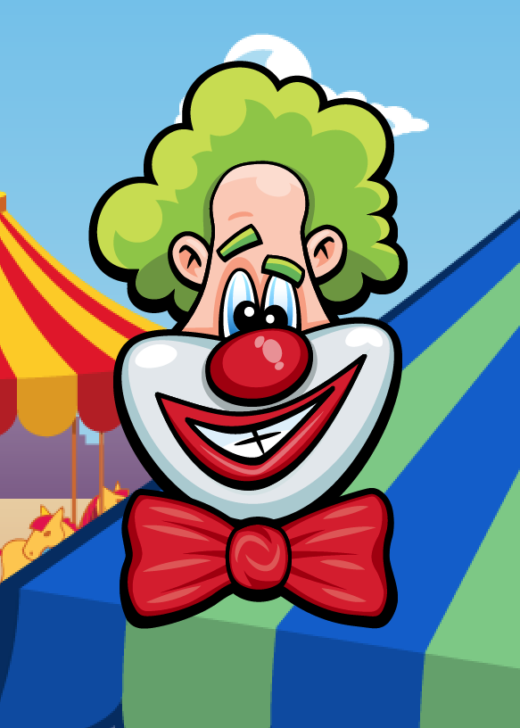 Laugh Clown's  head on the fairground background.