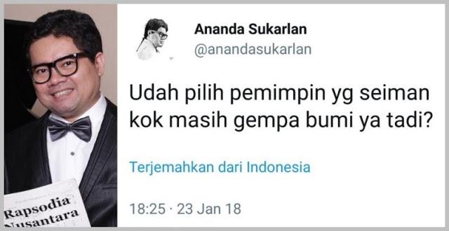 """Nyinyirin gempa """"Udah pilih pemimpin seiman kok masih gempa bumi"""", Ahoker Sukarlan """"dihajar"""" Netizen"""
