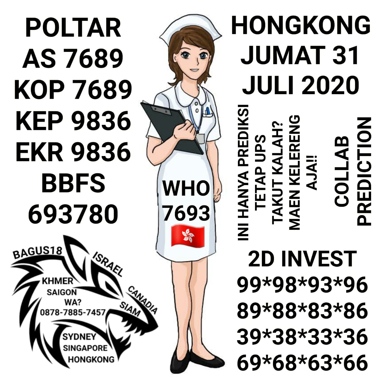 Kode syair Hongkong Jumat 31 Juli 2020 14