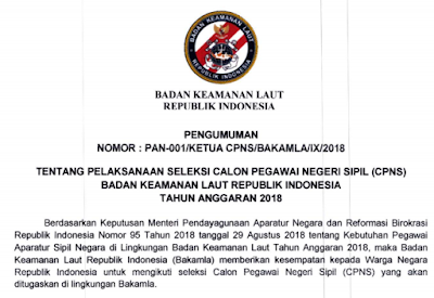 Penerimaan CPNS 2018 Lulusan SLTA untuk Badan Keamanan Laut (BAKAMLA)