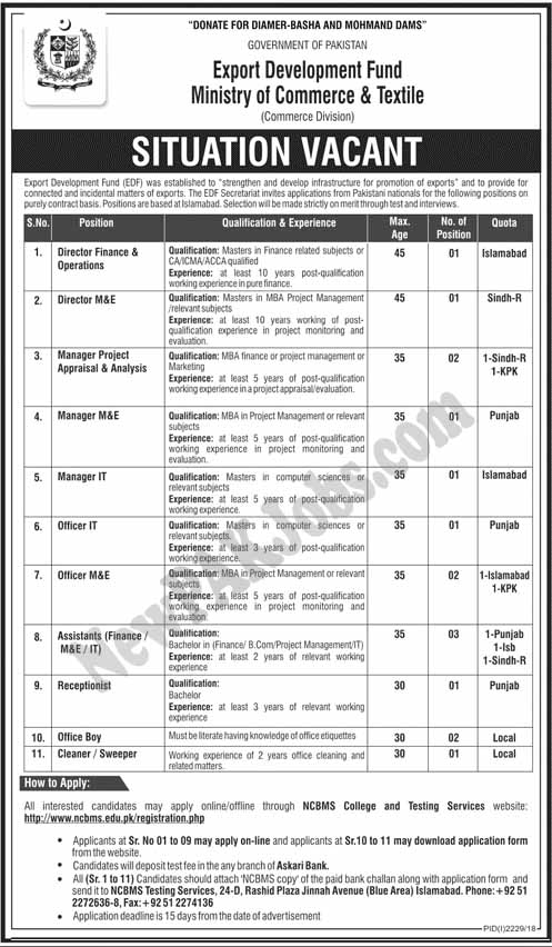 New Govt Jobs in Export Development Fund Ministry of Commerce and Textile