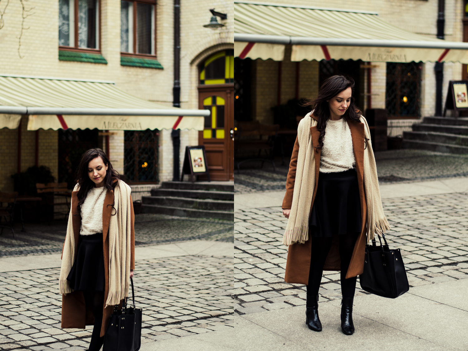 Long camel coat,  flared skirt, fur sweater, leather industral bag blog