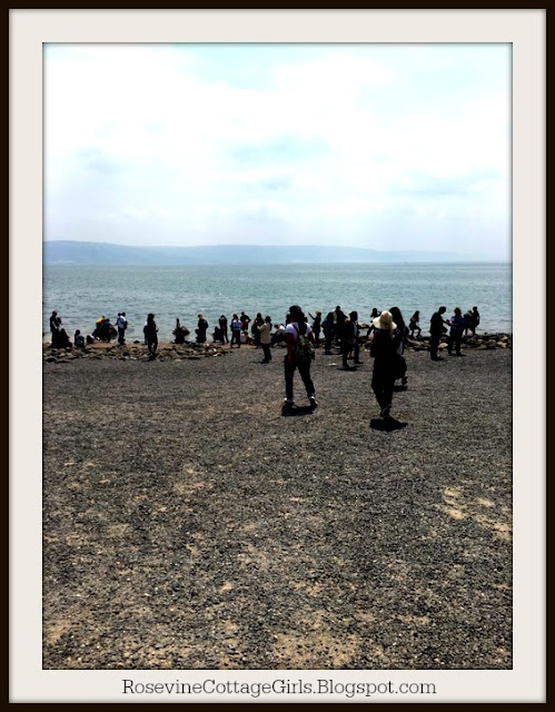 The Sea of Galilee beach, the only place big enough where fishermen could spread their nets to dry and repair them.