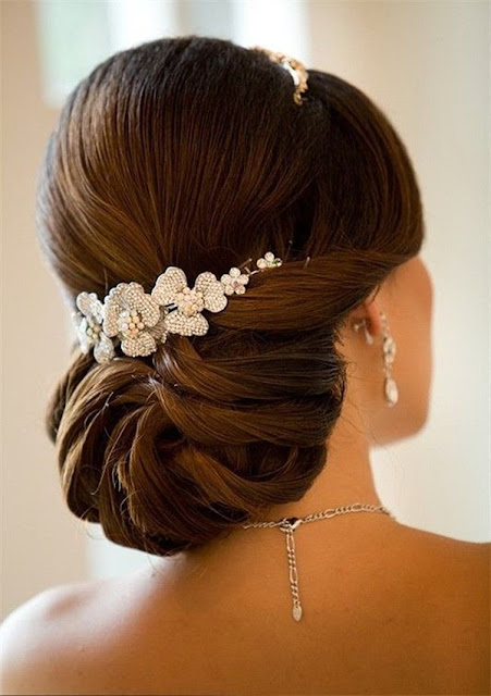 Beautiful updo bun with accessories