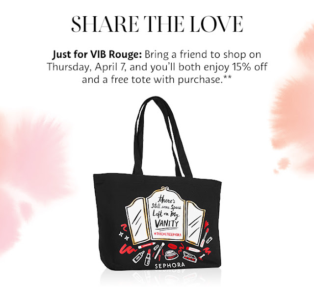 Sephora VIB Rouge Free Black Tote Love Note April 2016