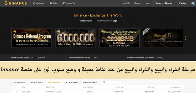 طريقة الشراء والبيع والشراء والبيع من عند نقاط معينة و وضع ستوب لوز على منصة binance