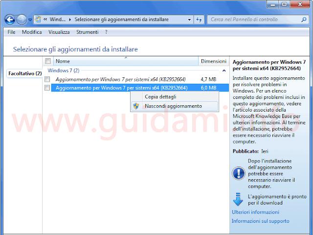 Windows Update nascondere aggiornamento