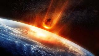 un gran asteroide chocando con la tierra, escena de cine armagedon, un meteorito estrellándose contra la tierra