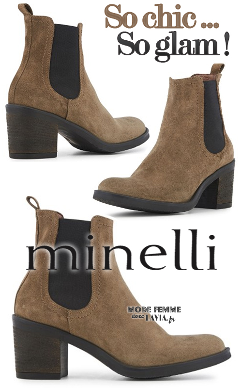 Boots en daim chelsea à talon taupe MINELLI