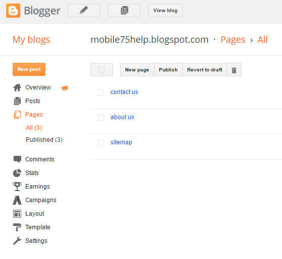 sitemap pages