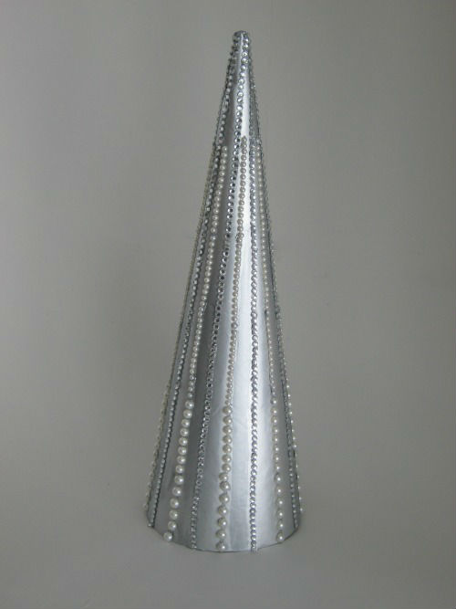 Metallic Beaded Holiday Cone Tree