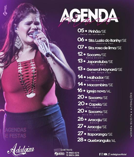 Agenda show de ADALGIZA 2017 MAIO