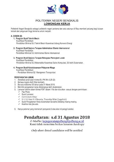 Lowongan Dosen Terbaru Bulan Agustus 2018 [UPDATE]