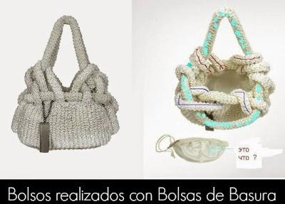 Bolsos Tejidos con Bolsas de Basura. Detalle Asas