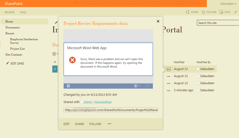 office web apps 2013 error