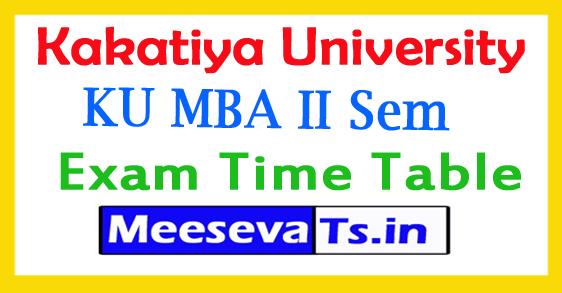 Kakatiya University MBA II Sem Aug Time Table 2018