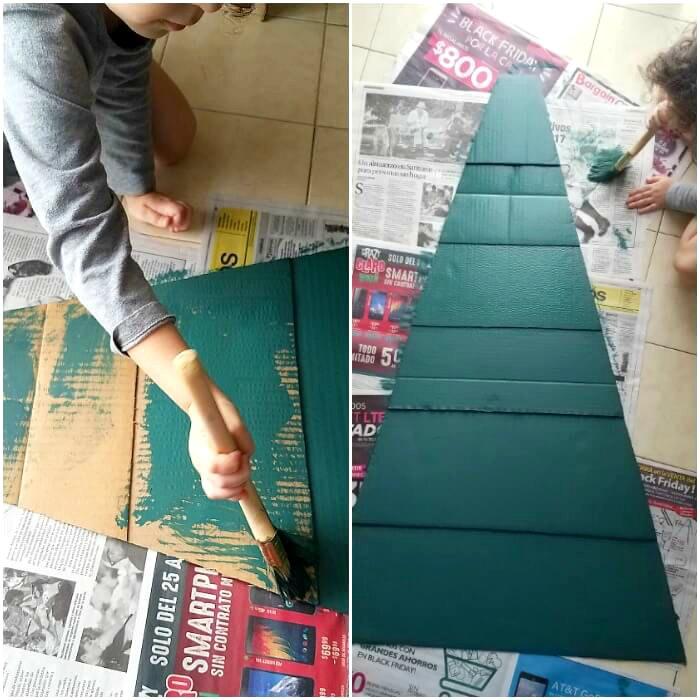 Elaboración del árbol de navidad para niños con cartón reutilizado y pintura